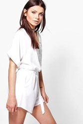 Boohoo Crochet Trim Playsuit White