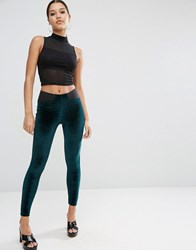 Asos Velvet Leggings With Elastic Slim Waist Forest Green