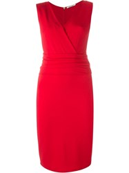 Max Mara Fitted Wrap Around Dress Red
