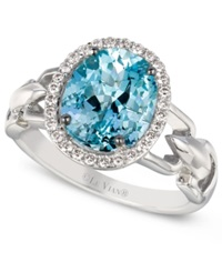 Le Vian Aquamarine 2 Ct. T.W. And Diamond 1 6 Ct. T.W. Oval Ring In 14K White Gold