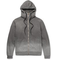 Tomas Maier Toma Faux Hearling Lined Ombre Cotton Jerey Zip Up Hoodie Gray