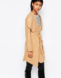 Brave Soul Belted Coat With Oversized Collar Tan