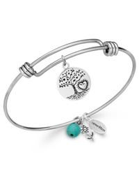 Unwritten Love Tree Charm And Manufactured Turquoise 8Mm Bangle Bracelet In Stainless Steel