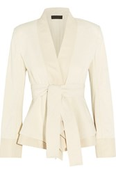 Donna Karan New York Belted Stretch Cotton Blend Canvas Jacket Off White