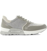 Dune Snake Effect Leather Trainers Grey Reptile