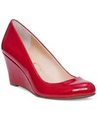 Jessica Simpson Sampson Round Toe Wedge Pumps Women's Shoes Lipstick Patent