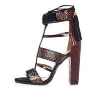 River Island Womens Dark Red Caged T Bar Block Heels