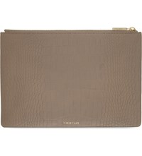 Whistles Matte Crocodile Embossed Leather Medium Clutch Grey