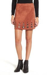 Glamorous Women's Grommet Faux Suede A Line Skirt