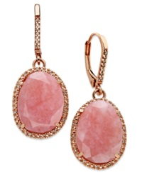 Macy's 14K Rose Gold Over Sterling Silver Earrings Pink Opal 9 1 5 Ct. T.W. And Diamond 1 6 Ct. T.W. Earrings