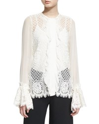 Alexis Amilina Long Sleeve Lace Silk Trim Top Ivory