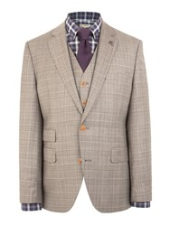 Gibson Check Notch Collar Tailored Fit Jacket Taupe