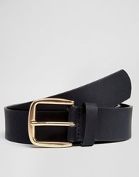 Asos Belt In Faux Leather With Rose Gold Buckle Black