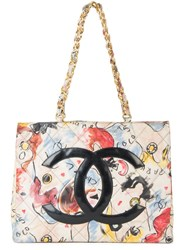 Chanel Vintage Jumbo Quilted Chain Tote Bag Multicolour