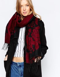 Yumi Oversized Wrap Scarf In Rose Red