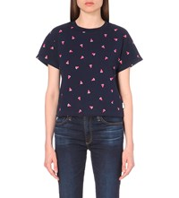 Chocoolate Watermelon Print Cotton Jersey T Shirt Navy