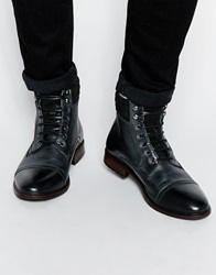 Asos Boots In Leather With Faux Shearling Lining And Toe Cap Black