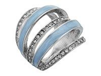 Guess 5 Band Look Ring Silver Crystal Blue Ring