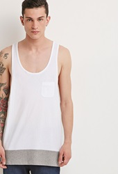 Forever 21 Colorblocked Racerback Tank White Heather Grey
