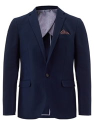 Jigsaw Cotton Linen One Button Jacket Navy