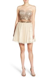 Steppin Out Women's Embellished Two Piece Skater Dress Gold Silver Ombre
