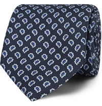 Dunhill Paisley Patterned Silk Tie Blue