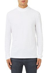 Topman Men's Mock Neck Long Sleeve T Shirt