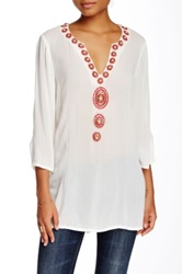 Julie Brown Sequin Embellished 3 4 Sleeve Blouse White