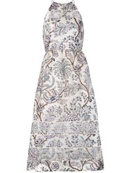 Zimmermann Floral A Line Dress Nude Neutrals