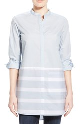 Women's Halogen Stripe Hem Cotton Tunic Blue Wide Stripe Colorblock