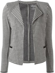 Majestic Filatures Houndstooth Pattern Open Cardigan Black