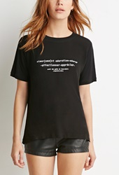 Forever 21 Adoration Graphic Tee Black White