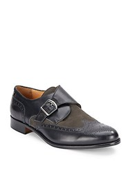Saks Fifth Avenue Mixed Media Monk Strap Loafers Navy