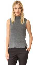 Milly Cashmere Cloud Sleeveless Sweater Grey