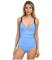 Tommy Bahama Deck Piping Over The Shoulder V Neck Cup One Piece Blue Zaffiro Mare Navy Women's Swimsuits One Piece