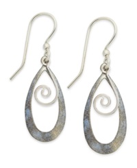 Jody Coyote Patina Bronze Earrings Light Blue Tear Shaped Swirl Drop Earrings