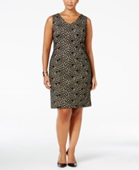 Kasper Plus Size Bonded Lace Sheath Dress Black Cream