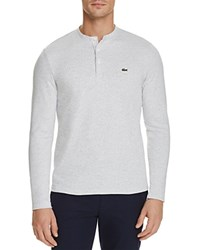 Lacoste Textured Spotted Long Sleeve Henley Tee Flour Silver Chine