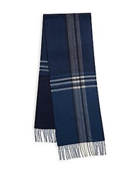 Saks Fifth Avenue Made In Italy Ombre Plaid Cashmere Scarf Blue