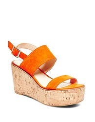 Steve Madden Catlyn Suede Platform Wedge Sandals Orange