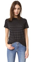 Vince Stripe Slub Short Sleeve Tee Charcoal Black