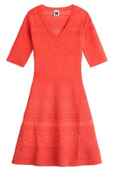 M Missoni Textured Knit Dress Orange