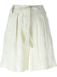 Etro Jacquard Tie Waist Pleated Shorts Nude And Neutrals