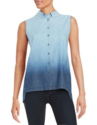 T Tahari Chambray Button Front Top Indigo