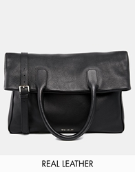 Whistles Leather Fold Over Tote Bag Black