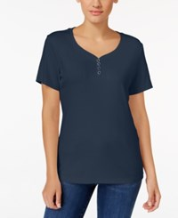 Karen Scott Henley T Shirt Only At Macy's Intrepid Blue