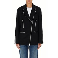 Alexander Wang Women's Melton Moto Jacket Black Blue Black Blue