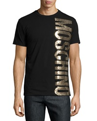 Moschino Gold Sequin Logo Tee Black