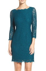 Adrianna Papell Women's Lace Overlay Sheath Dress Deep Turquoise