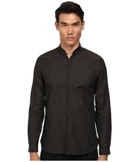 The Kooples Stones Stripes Shirt With Leather Collar Olive Black Men's Long Sleeve Button Up